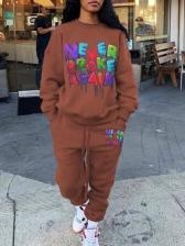 Streetwear Letter Print Crew Neck Womens Sweatsuit