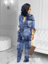 Color Block Printed Wide Leg Jumpsuit