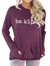 Leisure Letter Print Sweatshirts For Women