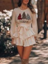 Christmas Snowman Printed Long Sleeve Ladies Dress