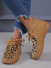 Retro Leopard Patchwork Printed Ladies Ankle Boots