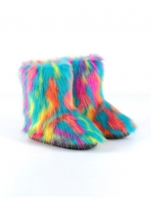 Colorful Faux Fur Female Snow Boots
