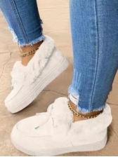 Casual Bow Inner Faux Fur Slip On Shoes