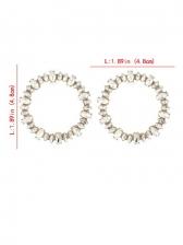 Korean Style Geometry Round Rhinestone Stylish Earrings