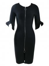 Black Slim Elegant Lady Half Length Sleeve Dresses