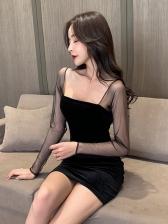 Solid OL Style Black Long Sleeve Pleuche Dress