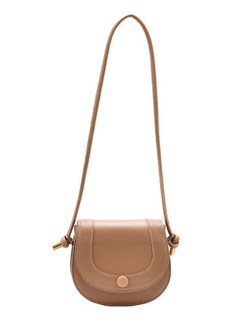 Vintage Style Solid Color Threaded Saddle Bag