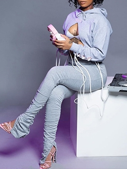 Gray Crop Hoodies With Stacked Pants For Women