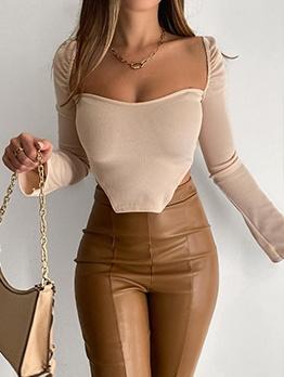 Square Neck Irregular Long Sleeve Blouse Women