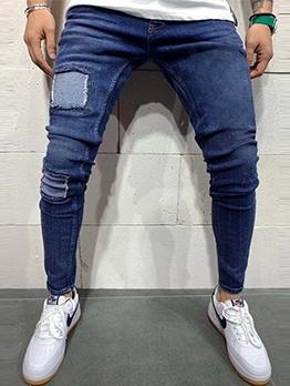 Patch Design High Waist Blue Mens Jeans