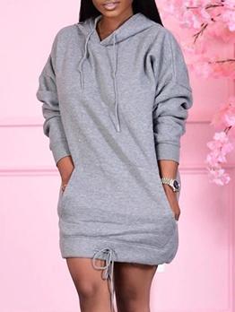 Leisure Wear Pure Color Long Sleeve Hoodie Dress