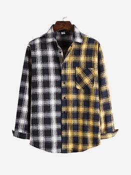Yellow And Black Colorblock Plaid Mens Shirt