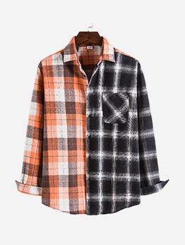 Orange And Black Patchwork Loose Mens Shirt