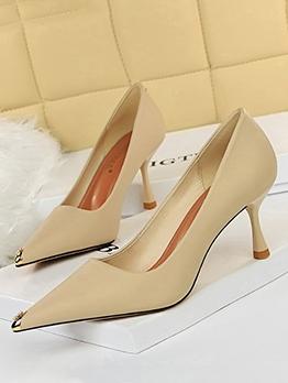 Simple Solid Pointed Toe Ladies High Heels
