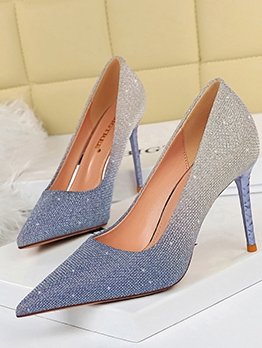Glitter Gradient Color Pointed Toe Party Heels