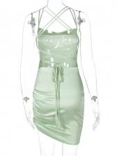 Backless Pure Color Spaghetti Strap Satin Dress