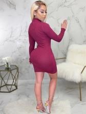 Smart Waist Mock Neck Solid Long Sleeve Dress
