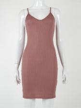 Low-Cut Pure Color Sleeveless Knee Length Dress