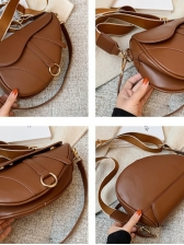 Threaded Solid Color Hasp Saddle Bag