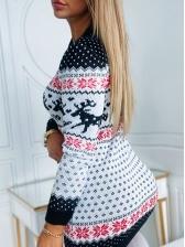 Christmas Elk Printed Knitted Long Sleeve Dress