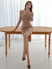 Elegant Solid Cutout Long Sleeve Bodycon Dress