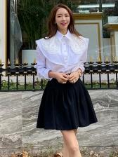 Elegant Solid Single-Breasted Long Sleeve Blouse