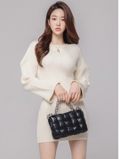 Crew Neck Solid Long Sleeve Sweater Dress