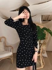 Korean Style Polka Dot Square Neck Ladies Dress