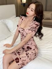 Fashion Square Neck Short Sleeve Bodycon Dress