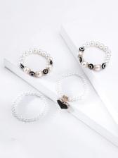Bohemian White Simple Faux-Pearl Heart Bracelet
