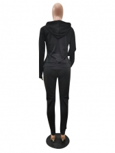 Sport Letter Hollow Out Hoodies Two Pieces Set