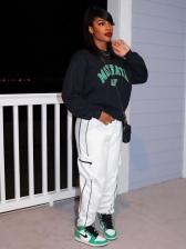 Letter Leisure Fashion Black Women Sweatshirt
