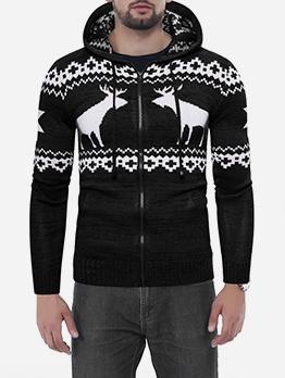Christmas Elk Print Zipper Up Hoodie Coat For Men