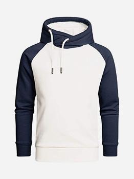 Contrast Color Fleece Hoodie For Men Casual
