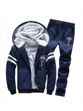 Winter Thickened Fleece Two Piece Mens Set Casual