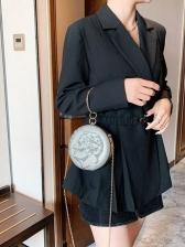 Round Handle Rhinestone Decor Round Corssbody Shoulder Bag