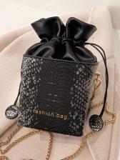 Chic Design Snake Print Square Chain Shoulder Bag