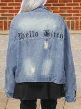 Trendy Letter Print Ripped Denim Jacket