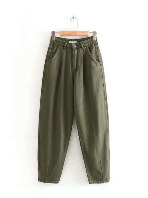 High Waist Green Pencil Jeans Casual
