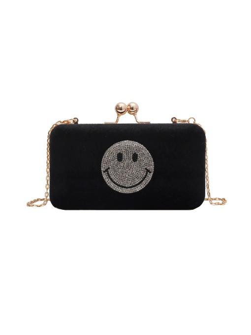 Emoji Rhinestone Decor Suede Evening Bag