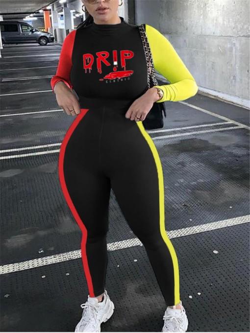 Sporty Contrast Color Letter Print Bodycon Jumpsuit