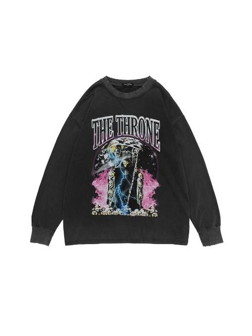 Vintage Street Pop Skeleton Printed Loose Men Sweatshirt