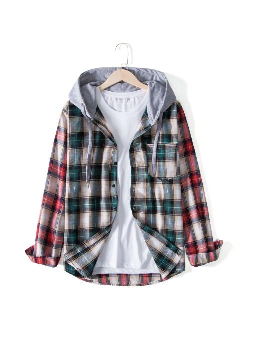 Contrast Color Hoodie Long Sleeve Shirt