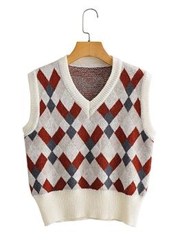 Preppy Style Rhombic Print V Neck Knitting Vest