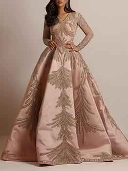 Stylish Foil Printing Long Sleeve Womens Formal Dresses