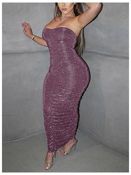 Glitter Solid Off Shoulder Strapless Maxi Dress