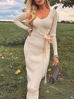 Deep V Neck Solid Long Sleeve Dresses
