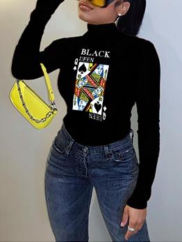 Chic Poker Printing Slim Casual Black T-Shirt