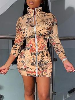Stand Collar Zipper Print Sexy Bodycon Dress