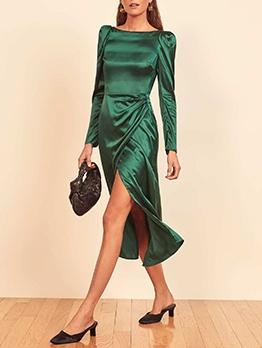 Elegant High Slit Long Sleeve Midi Dress